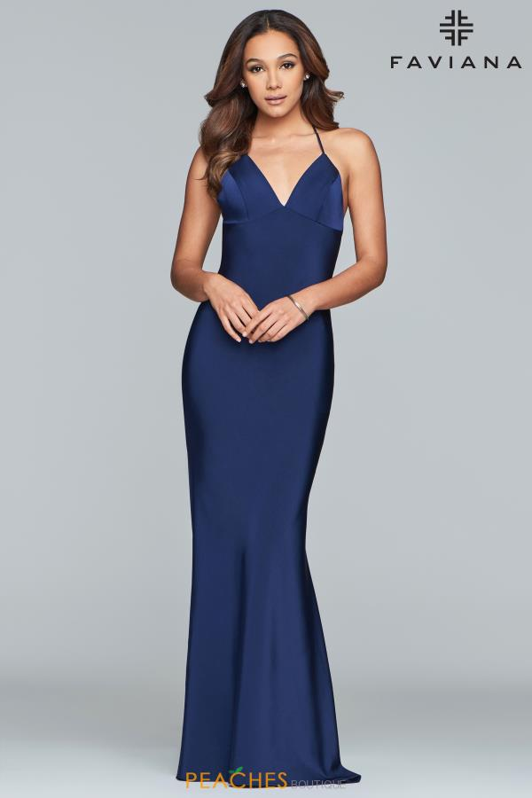 Faviana Fitted Satin Dress S10214