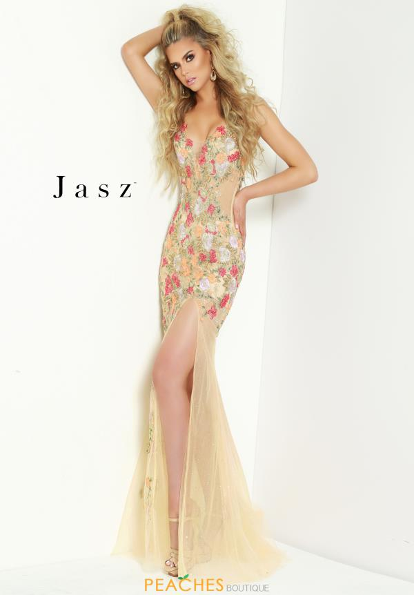 Jasz Couture V- Neckline Fitted Dress 6411