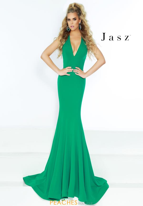 Jasz Couture V- Neckline Jersey Dress 6418