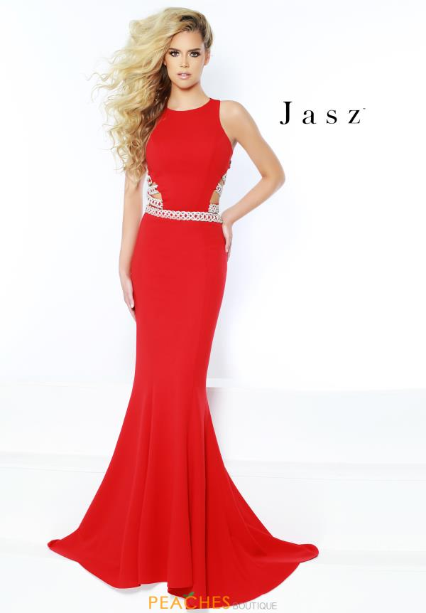 Jasz Couture High Neckline Fitted Dress 6424