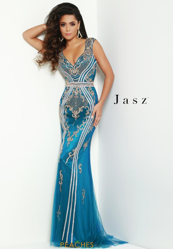 Jasz Couture V- Neckline Fitted Dress 6426