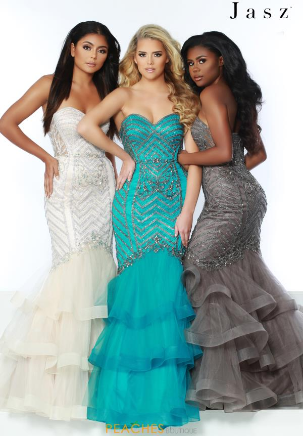 Jasz Couture Strapless Fitted Dress 6429