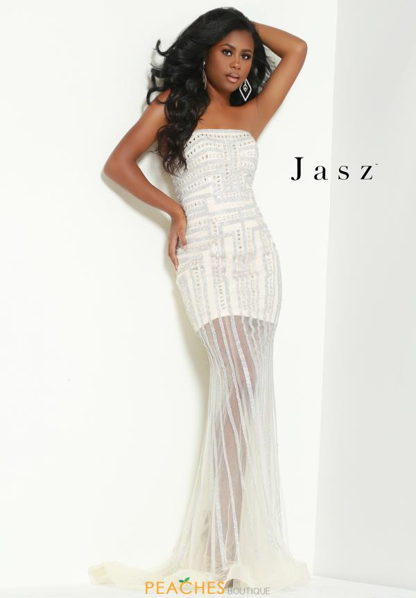 Jasz Couture Long Strapless Dress 6435