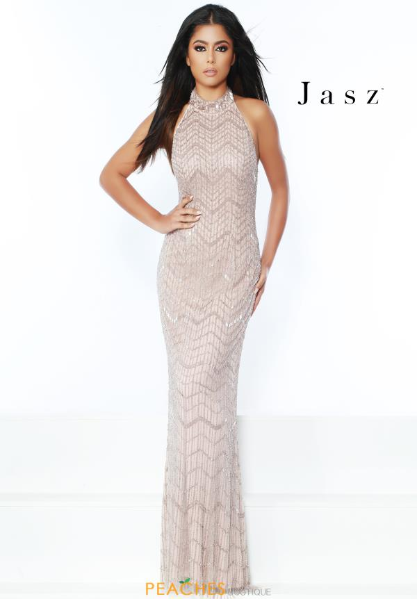 Jasz Couture Long Beaded Dress 6445