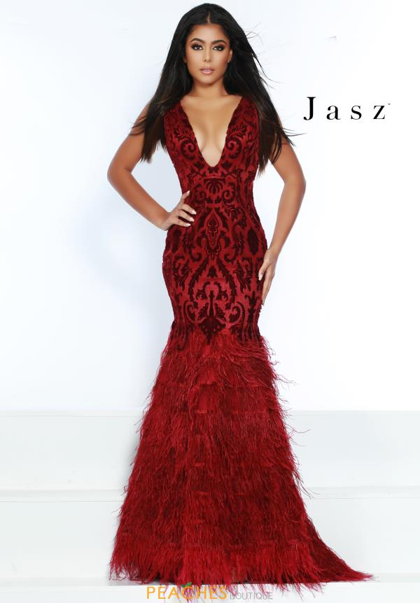 Jasz Couture Long Feather Skirt Dress 6449