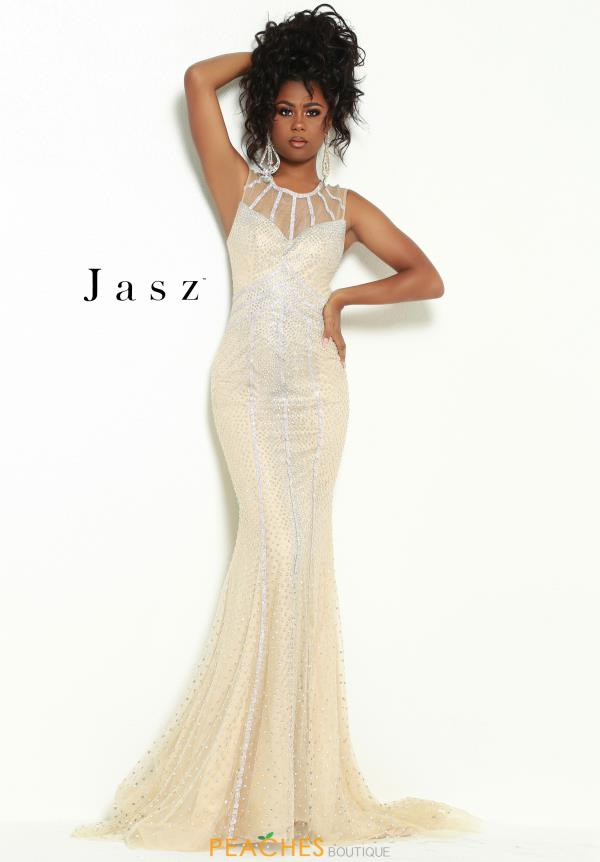 Jasz Couture Long High Neckline Dress 6466