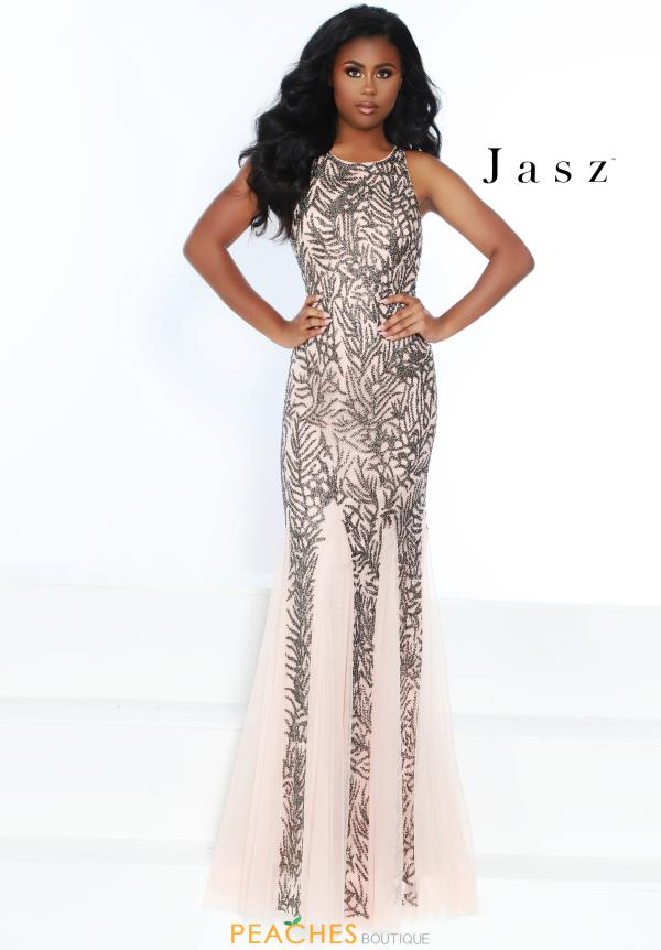 Jasz Couture High Neckline Beaded Dress 6505
