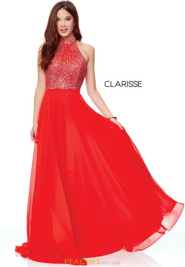 Clarisse High Neckline Beaded Dress 3750