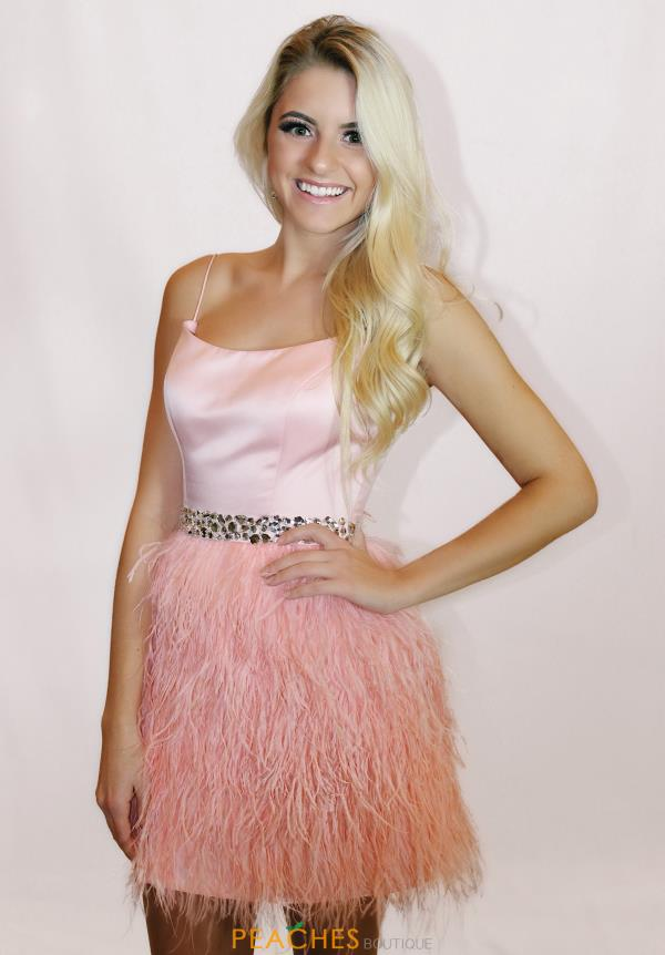 Satin Scoop Sherri Hill Short Feather A Line 52350