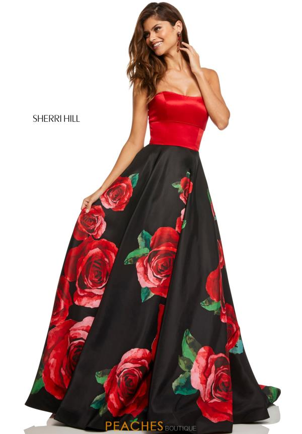 Sherri Hill Strapless A Line Dress 52722