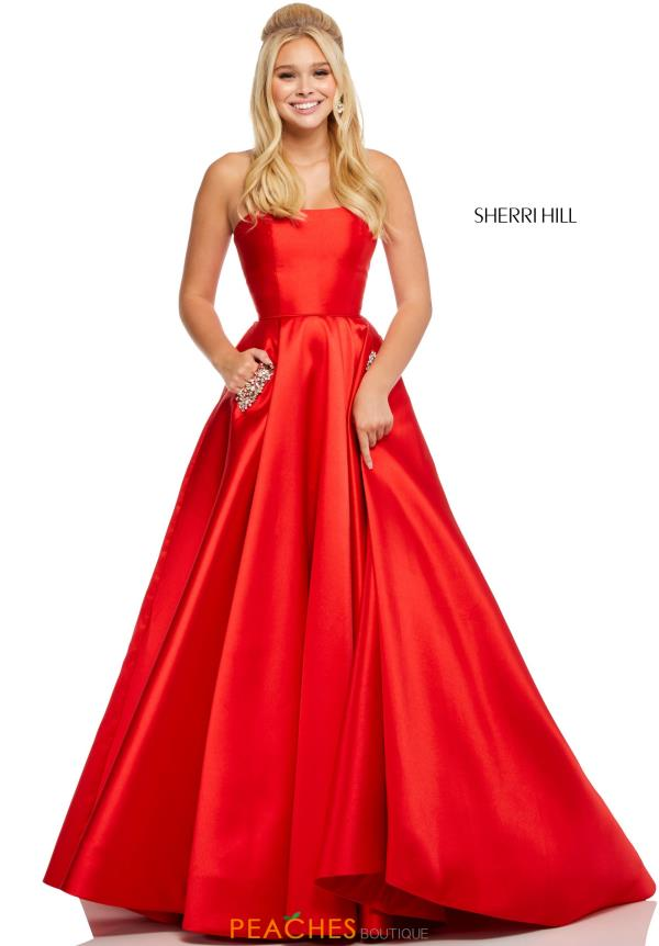Sherri Hill Strapless A Line Dress 52724