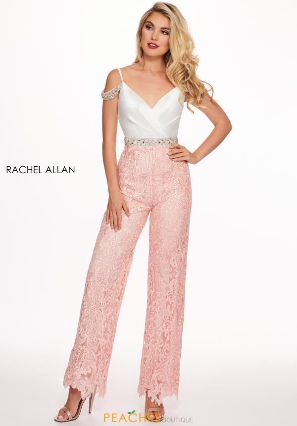 Rachel Allan Off the Shoulder Lace Jumpsuit 6594