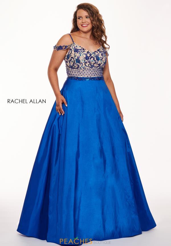 Rachel Allan Plus Size Off the Shoulder A-Line Dress 6696