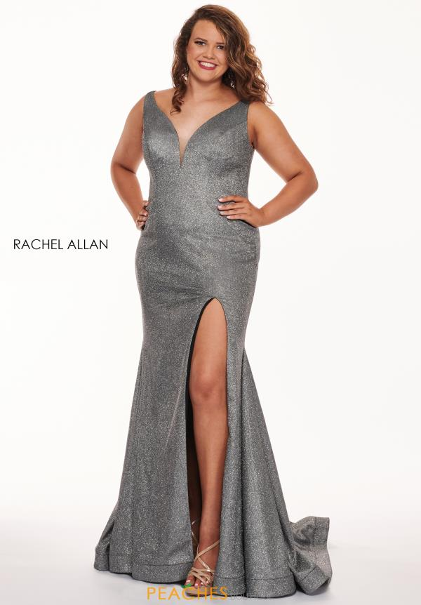 Rachel Allan Plus Size Glitter Fitted Dress 6697