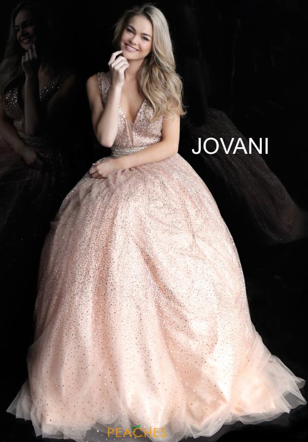 Jovani Glitter V-Neck Dress 62170