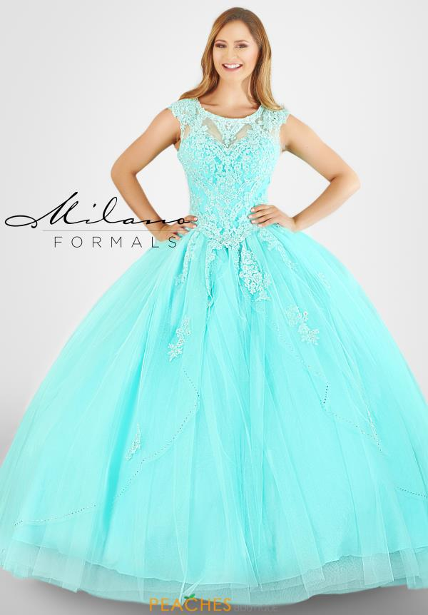 Milano Formals High Neckline Aqua Dress E2568