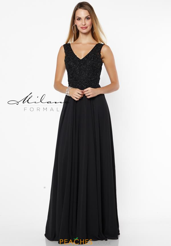 Milano Formals Long Black Dress E2574