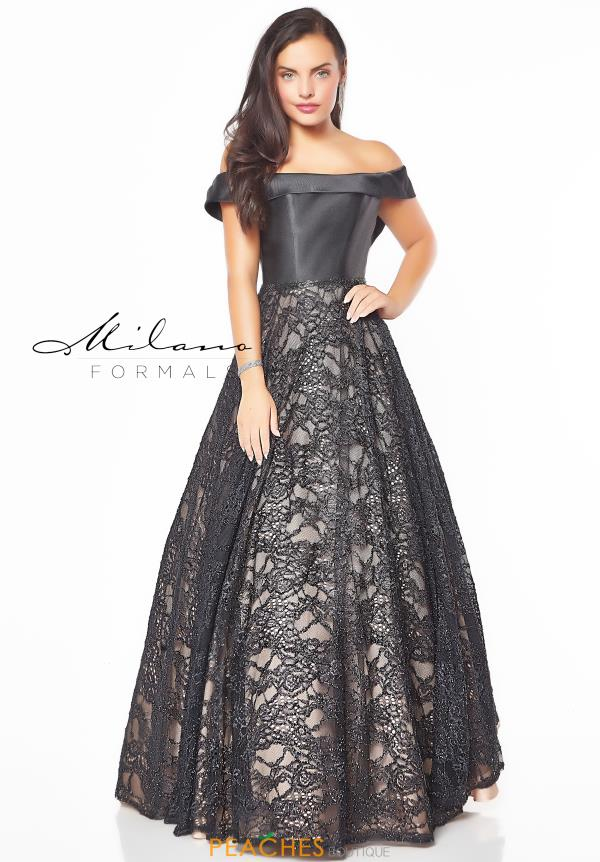 Milano Formals Long Black Dress E2774