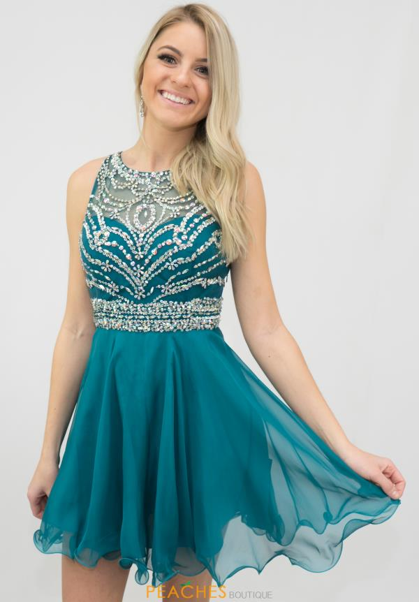 Blush Beaded Cut Out Back Navy Dress 10072