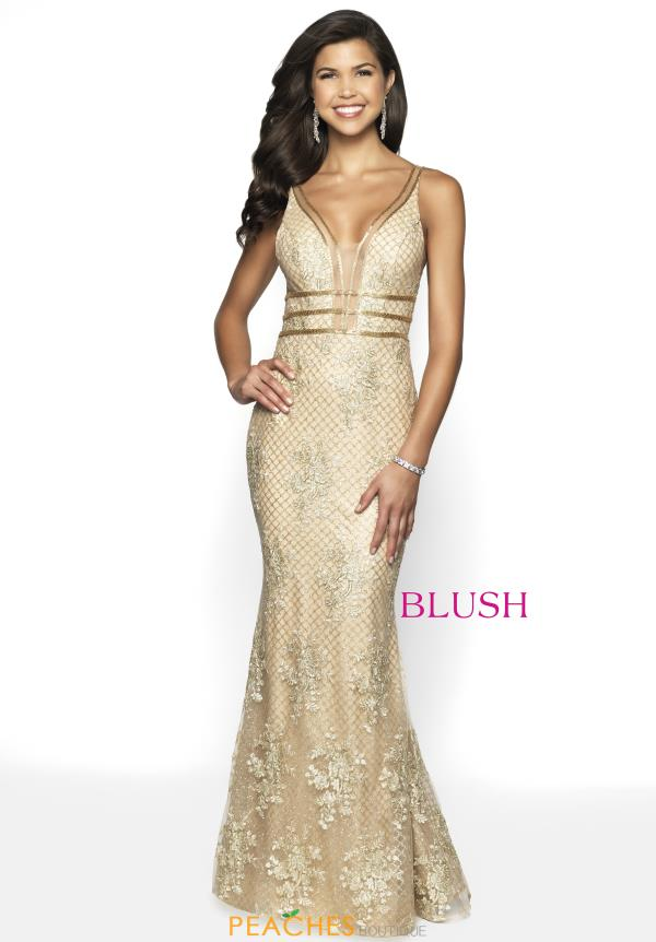 Blush Long Gold Dress 11705