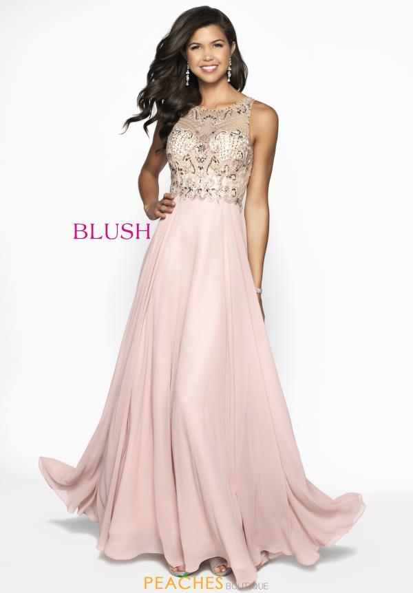 Blush High Neckline Beaded Dress 11715