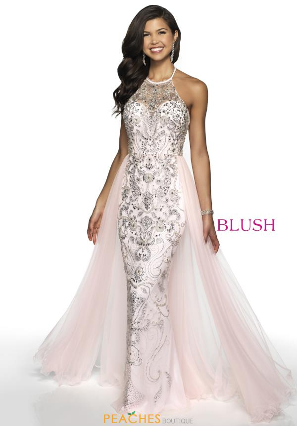 Blush Long Beaded Dress 11723