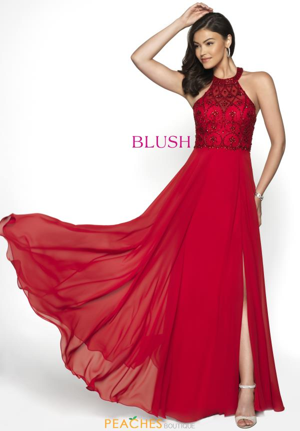 Blush Chiffon A Line Dress 11788