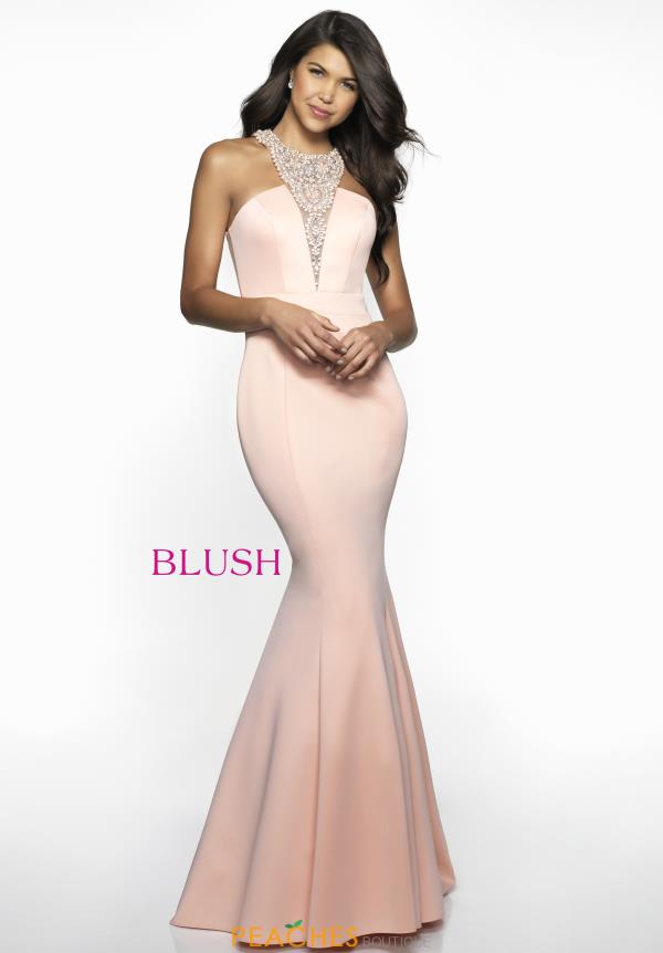 Blush High Neckline Beaded Dress C2025