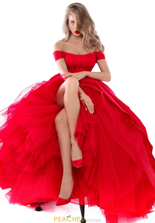 Tarik Ediz Off the Shoulder Ball Gown 50509