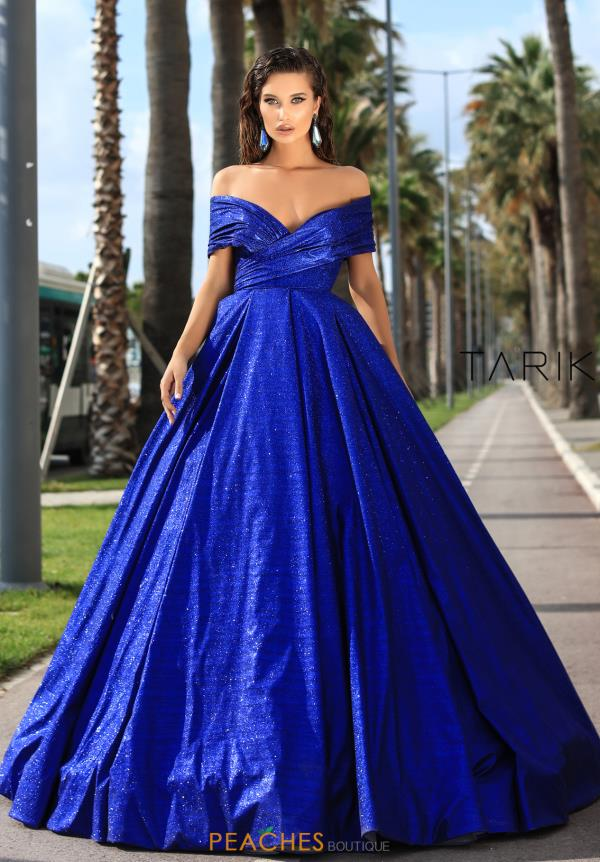 Tarik Ediz Off the Shoulder Glitter Dress 93730