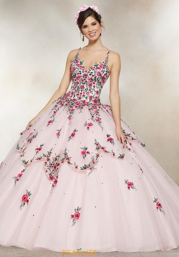 Vizcaya Quinceanera Long Floral Gown 34007
