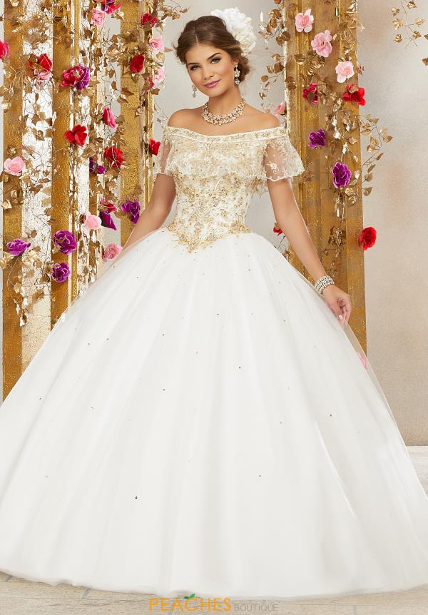 Vizcaya Quinceanera Off the Shoulder Beaded Gown 60075
