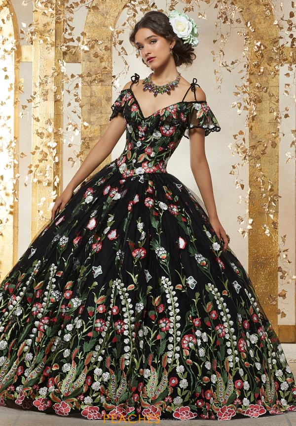 Vizcaya Quinceanera Long Black Gown 89238