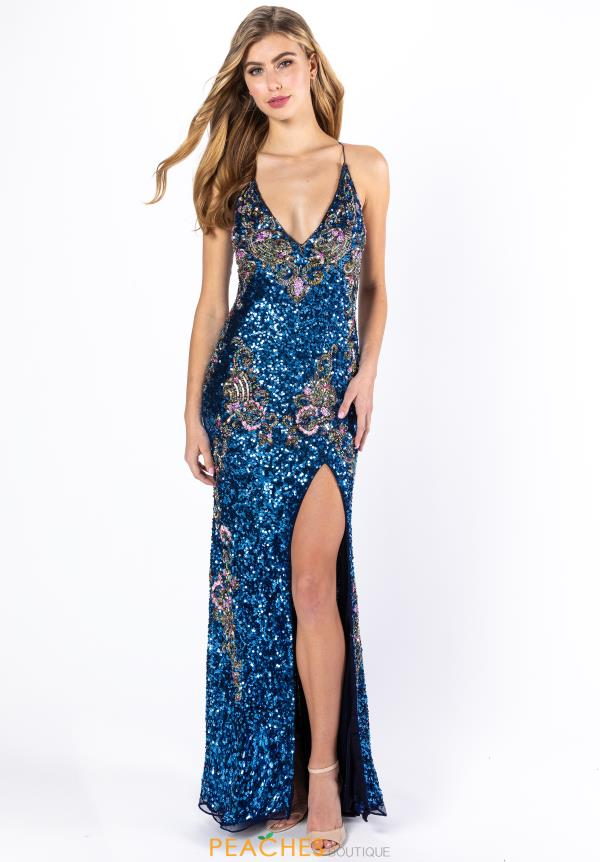 Long Sequin Blue Dress