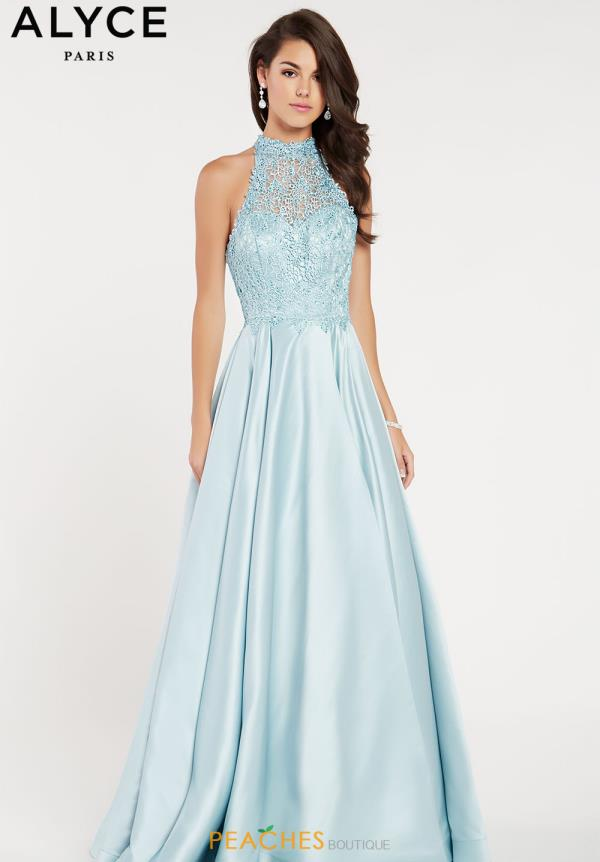 Alyce Paris High Neckline Satin Dress 60334