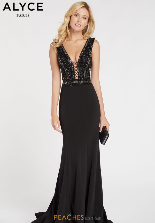 Alyce Paris Fitted Black Dress 60549
