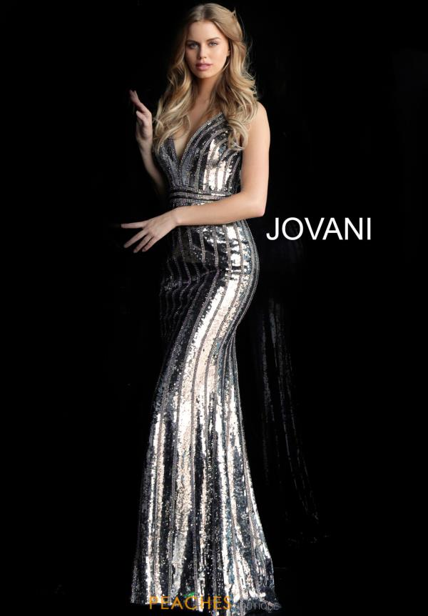 Jovani V-Neck Beaded Dress 64159