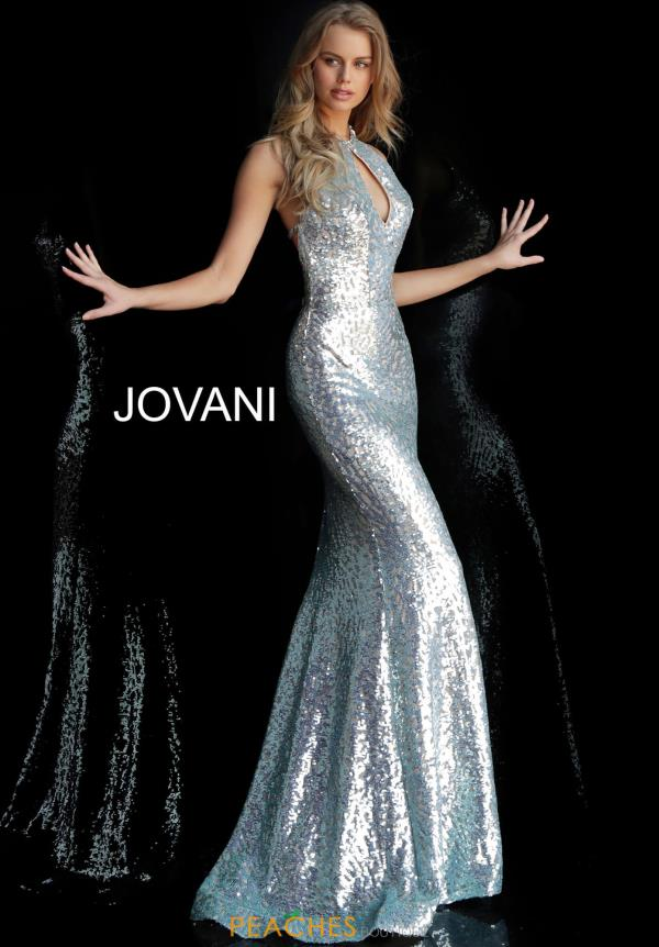 Jovani High Neckline Long Dress 64182