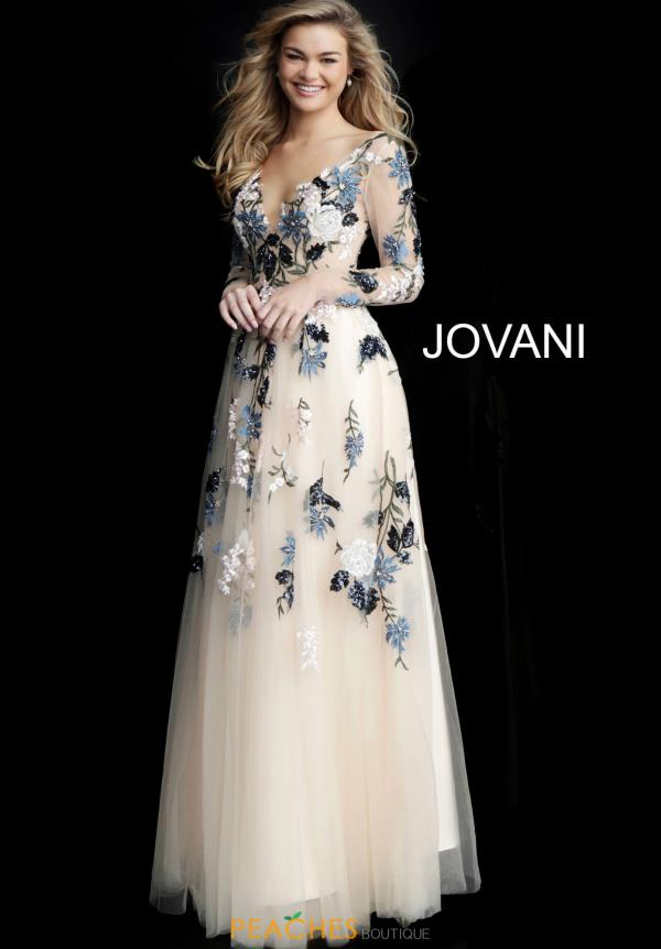 Jovani Long Sleeve Applique Dress 65359