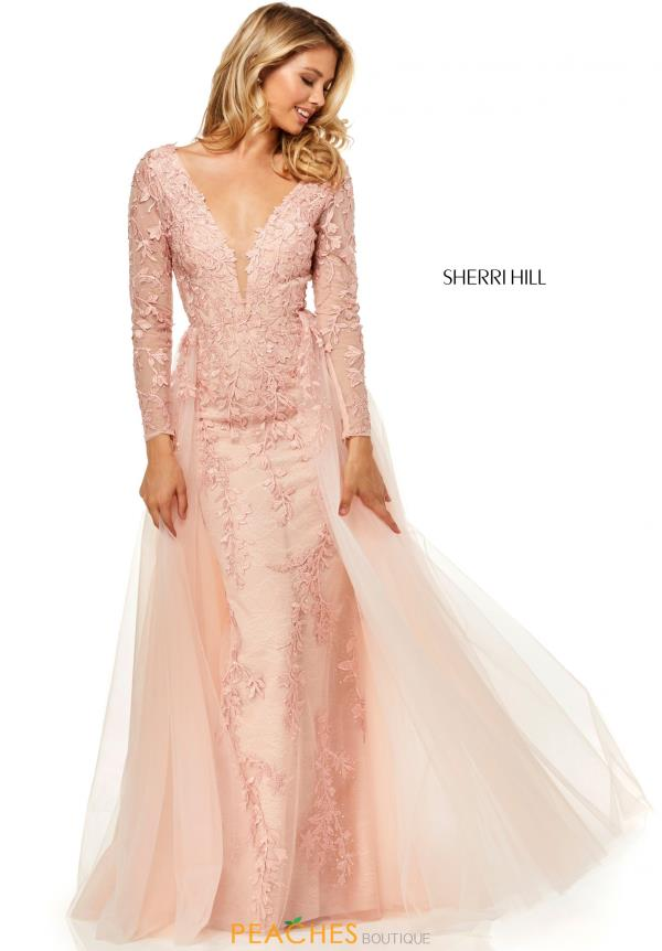 Sherri Hill Long Sleeve Applique Dress 52476