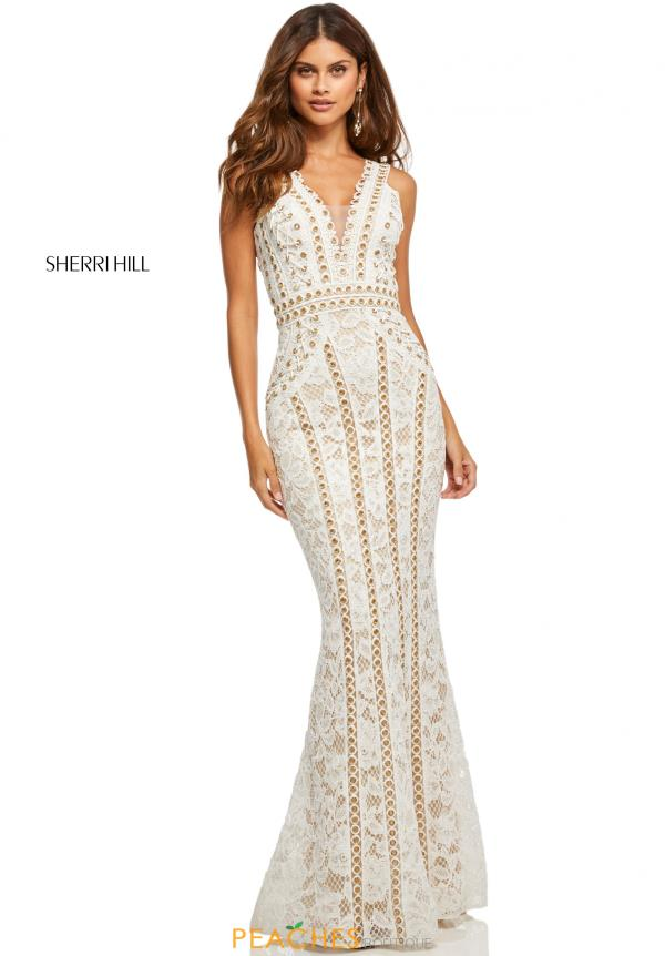 Sherri Hill V-Neck Beaded Dress 52611