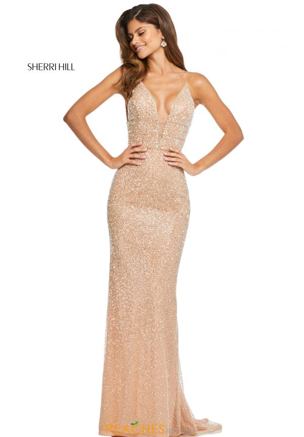 Sherri Hill V-Neck Beaded Dress 52689