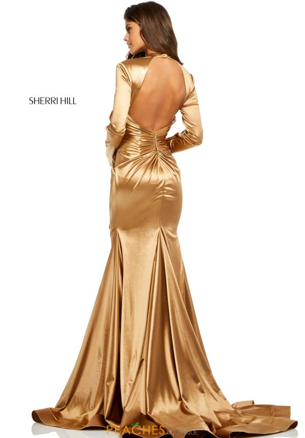 Sherri Hill Long Sleeve Satin Dress 52698