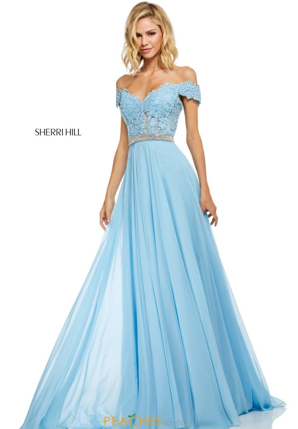 Sherri Hill Off the Shoulder Lace Dress 52729