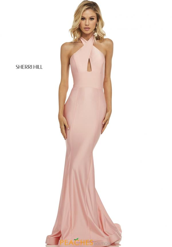 Sherri Hill Halter Top Fitted Dress 52784