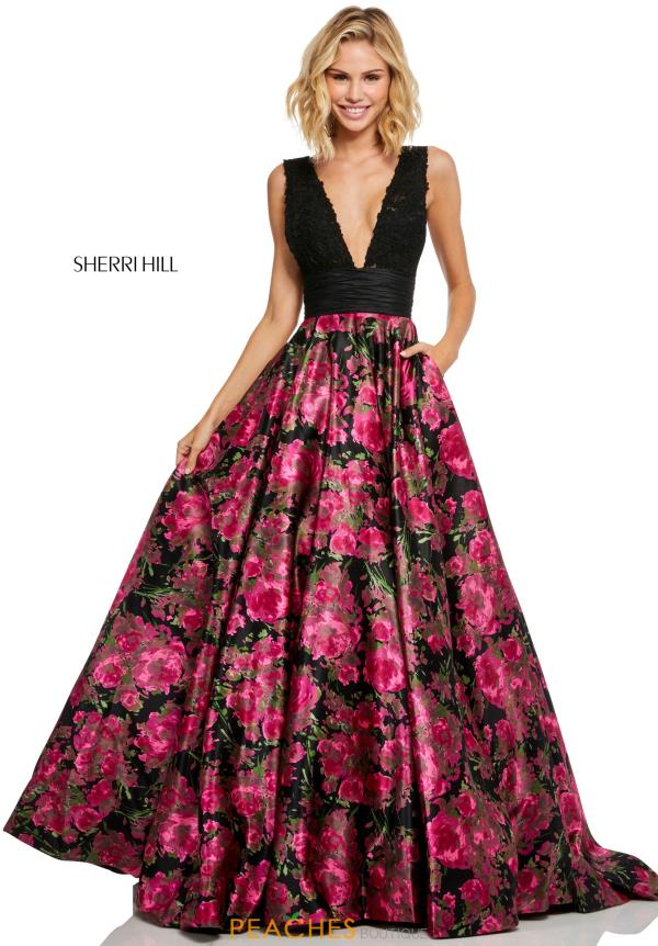 Sherri Hill Black Print Dress 52861