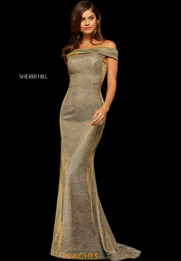Sherri Hill Off the Shoulder Fitted Dress 52825
