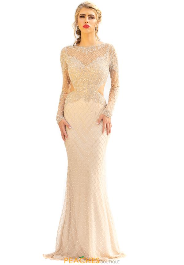 Primavera Long Sleeved Beaded Prom Dress 3231