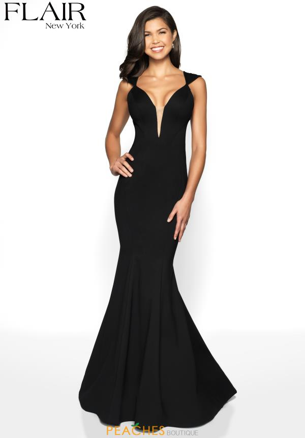 Flair V-Neck Long Dress 19088