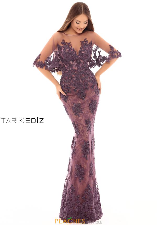 Tarik Ediz V-Neck Lace Dress 93691